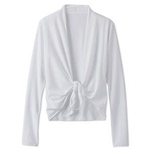 PrAna Veeda Wrap Top Tie Front Yoga Raw Edge White